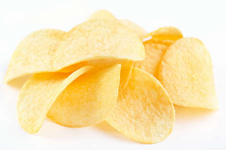 chips: Potato chips on a white background