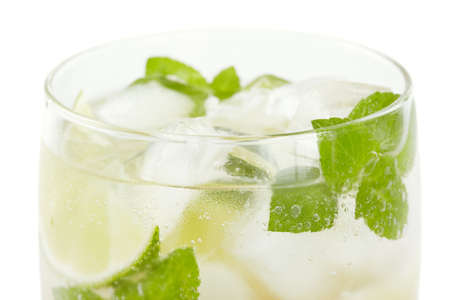 Mojito cocktail closeup on a white background photo