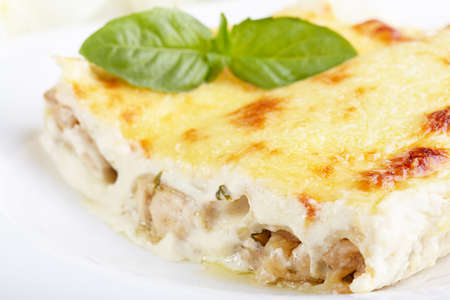 chicken meat: Cannelloni with chicken and mushrooms baked in sauce bechamel