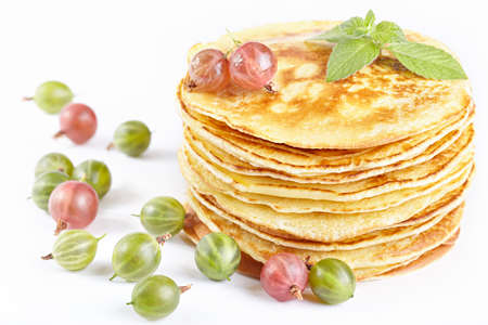 maslen: Pancakes with gooseberry berry Stock Photo