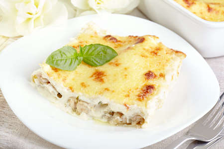 Cannelloni with chicken and mushrooms baked in sauce bechamel Stok Fotoğraf - 25320630