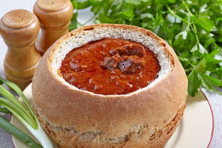 goulash: Czech cuisine. Goulash served in bread