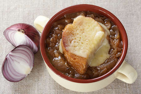 tureen: French cuisine. Onion soup served in a tureen