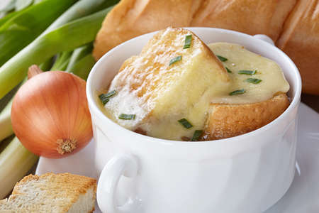 tureen: French cuisine. Onion soup served in a white tureen