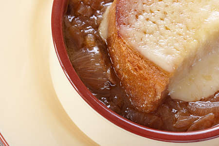 life loaf: French cuisine. Onion soup served in a tureen