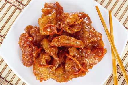 batter: Chinese cuisine. Pork in batter and sweet and sour sauce Stock Photo