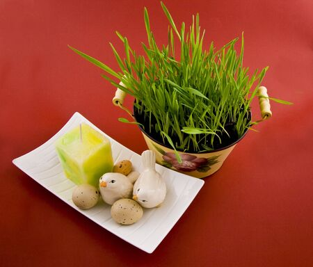 Easter plant and easter eggs candle set Stock Photo