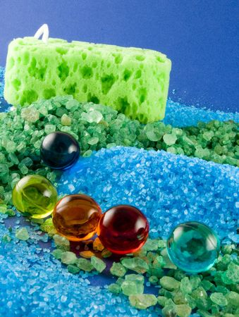 Aromatic salt bath, spa and wellness Stock Photo