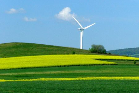 Windmill on a yellow-green field, alternative energy photo
