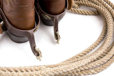 spurs: Cowboy gear - western riding equipment, spurs and rope
