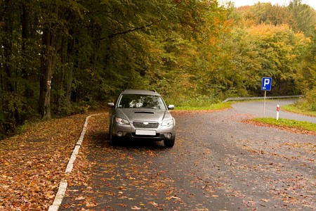parking place in the middle of forest Stock Photo