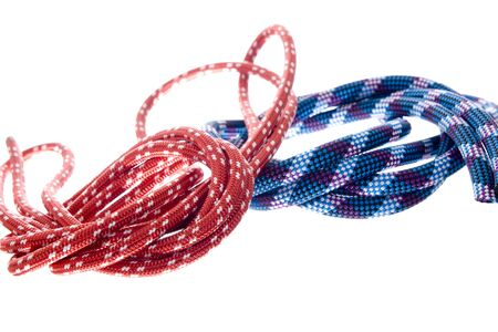 climbing rope isolated on white photo