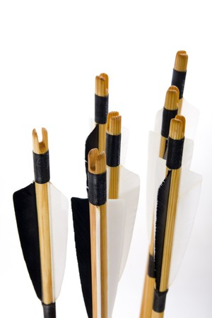Traditional archery, arrows on white Stock Photo