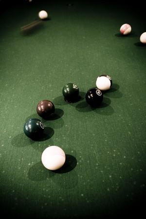 poolball: Vintage billard balls on green table