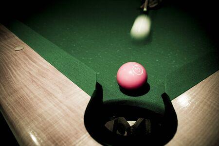 Vintage billard balls on green table