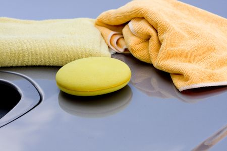 Cleaning the Car - waxing process Stock Photo