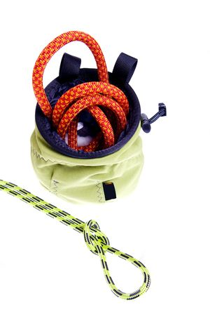 climbing gear isolated on white photo
