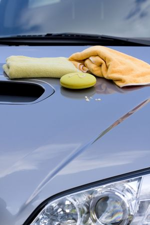 Cleaning the Car -  waxing process photo