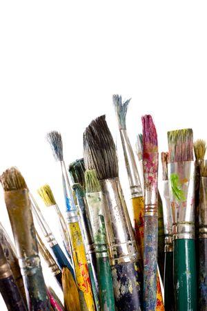 Painting brushes isolated on white Stock Photo