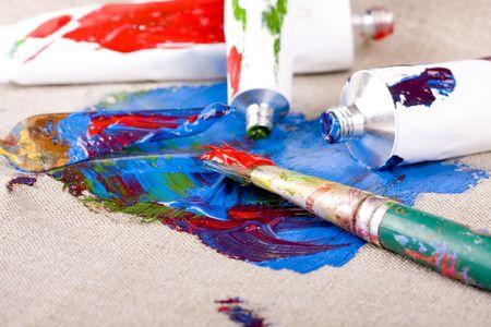 oilpaint: Paint tubes on linen canvas