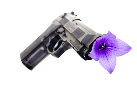 gun and flower on a white background Stock Photo - 5633221