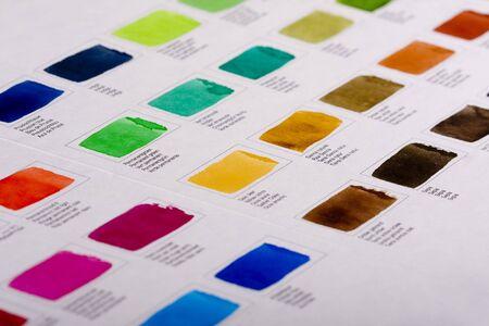 sampler: Color sampler of watercolors paint Stock Photo