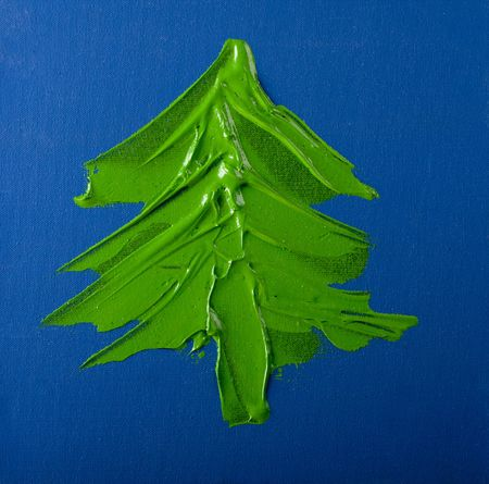 Christmas Tree hand painted with acrylic paint on the canvas