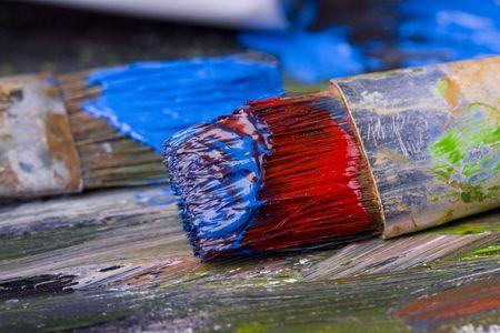 Painting brushes in artist studio