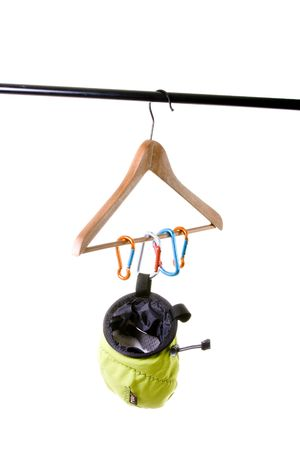 Climbing equipment  isolated on white photo
