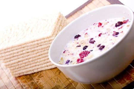 Healthy and dieting muesli breakfast Stock Photo