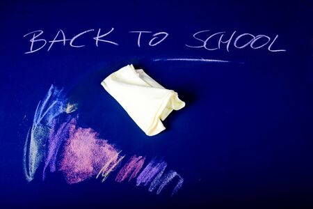 new school year begins - written on blue chalkboard Stock Photo - 7387902