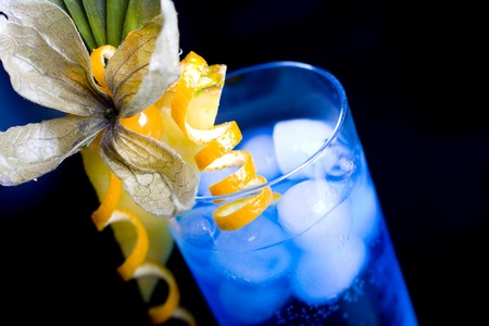 fruit bars: blue lagoon cocktail served in a glass