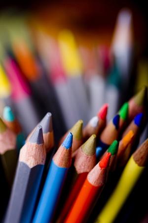 Group of colorful crayons closeup Stock Photo