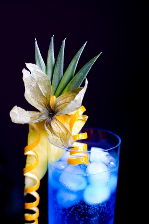 blue lagoon cocktail served in a glass