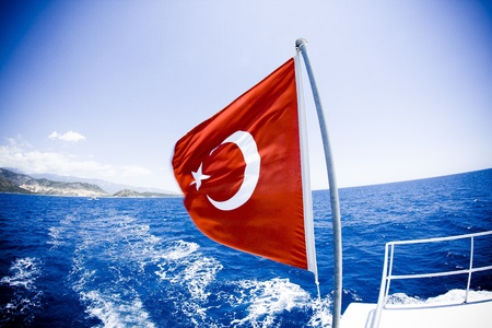 Red Turkish flag on the boat