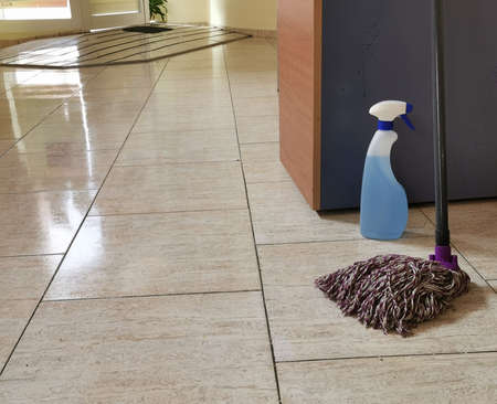 clean shiny floors after cleaning and disinfection, quarantine measures in the office