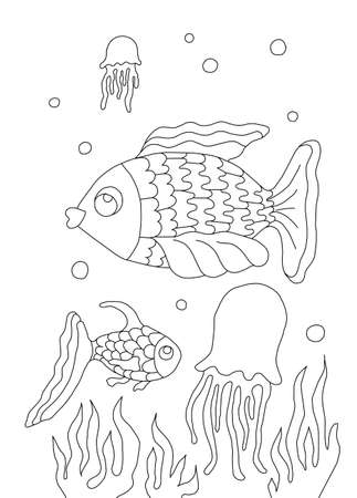 Fish illustration, black-and-white contouring for coloring books for children Stockfoto