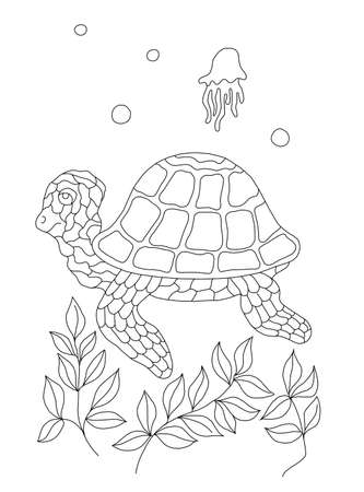 Seahorse illustration, black-and-white contouring for coloring books for children