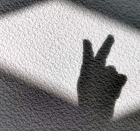 victory shadow sign, bunny shadow on a light wall Stock fotó