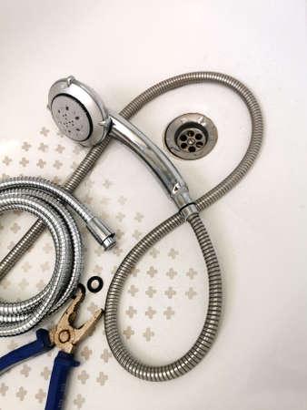shower tube, plumbing repair in the bathroom