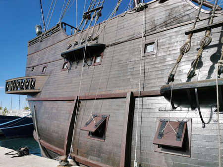 Side of the reconstruction of an old galeon Standard-Bild
