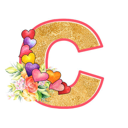 artistic alphabet, capital letter C illustration with summer bouquet leaves and flowers, ane hearts, elegant and romantic font
