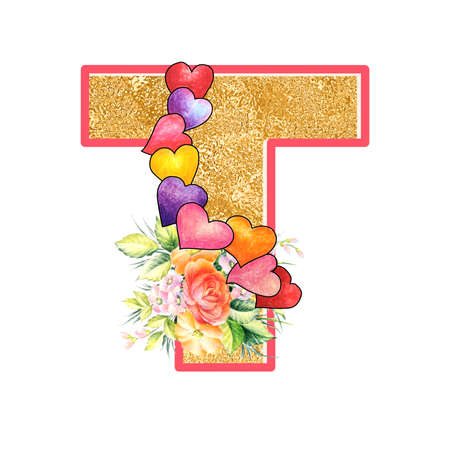 artistic alphabet, capital letter T illustration with summer bouquet leaves and flowers, ane hearts, elegant and romantic font