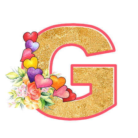 artistic alphabet, capital letter G illustration with summer bouquet leaves and flowers, ane hearts, elegant and romantic font