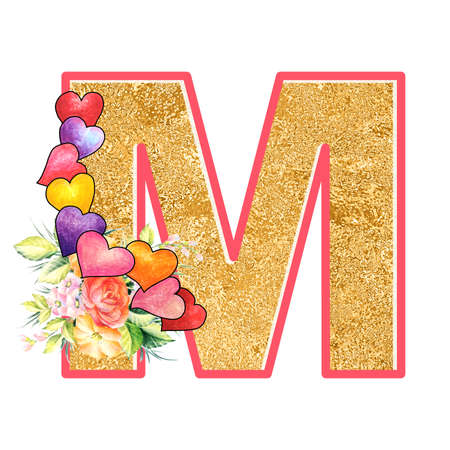 artistic alphabet, capital letter M illustration with summer bouquet leaves and flowers, ane hearts, elegant and romantic font