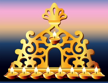 16th Century Italy Hanukkah Menorah. Vector