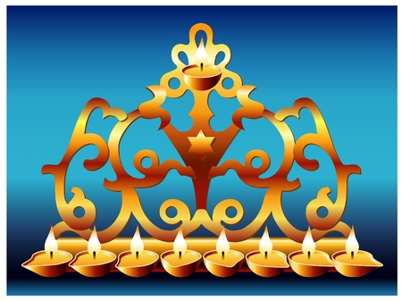 judaica: 18 centuryGreek style hanukkah menorah Illustration