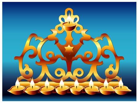 menora: 18 centuryGreek style hanukkah menorah Illustration