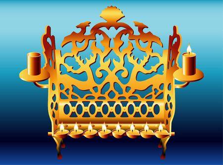 18 century Poland style Hanukkah Menorah