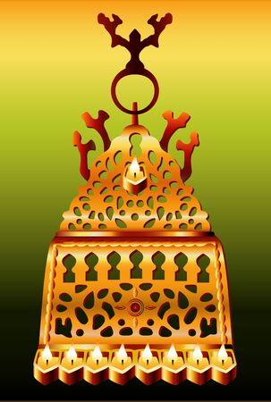 19th: 19th century Morocco Hanukkah Menorah Illustration